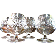 Set of 4 Ornately Hand Cut Crystal Small Brandy Snifters