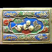 SALE Beautiful Oriental Enameled Brass Match Holder