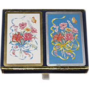 Vintage Congress, 2 Decks of Playing Cards with Bouquet of Flowers, Ribbon, Butterfly & ..