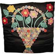 SALE The Best Early Vintage Appliqued Yoyo Pillow, Fine Work, Lovely Calico Fabrics