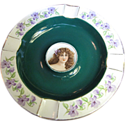 Cico Bavarian Porcelain Portrait Ashtray, Green with Gold Trim & Violet Flowers (No 2)