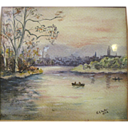 SOLD Harris, Art Order, Petite Antique Tonalist Water Color of Evening River Scene Signed K.K.