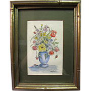 SOLD Harris, Art Order, Small and Pretty Vintage Watercolor Still Life of Flowers by Jay Salte