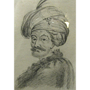 SALE 19th Century Orientalist Pencil Portrait of Gentleman with Turban