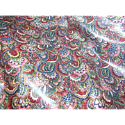 SOLD 6 Yards Plus of Jewel Colored Glazed Cotton Chintz