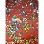 SOLD 3 Yard Remnant of Red Provincial Linen Union, Roosters, Butterflies, Flowers!