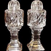 Vintage Hand Cut Crystal Glass Salt & Pepper Shakers - West Germany, Like New