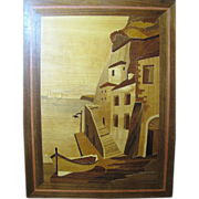 SALE Sorrento Fine Italian Marquetry Coastal Scene with Boat