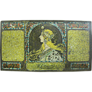 First Issue Whitman's Salmaguadi Candy Tin, with Alphonse Mucha Art Nouveau Design