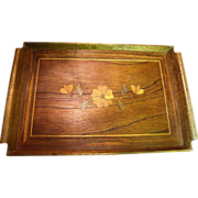 Vintage Wooden Marquetry Tray with Floral Inlay Design & Integral Handles