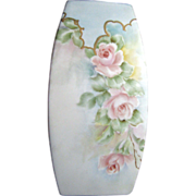 Delicate Vintage Bisque Vase, Hand Painted Roses!