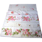 SOLD Romantic Pair of Unmatched Vintage Rose Pattern Pillow Cases