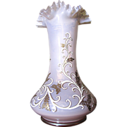 Romantic Antique Hand Painted Pink Glass Vase With Ruffle Rim