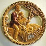 SALE Nice Early Vintage Romantic Couple Charming Chalk Ware Plaque