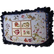 SALE Beautiful Wool Needle and Petite Point Oblong Pillow, Birds, Insects, Flowers!