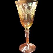 Beautiful Fostoria Trojan Pattern Topaz Water Goblet (6 available)