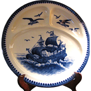 SALE Beautiful Villeroy and Boch Mettlach Flow Blue Divided Platter with Sailing Galleon