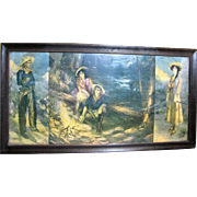 Large 1911 Western Cowboy & Girl Triptych Print by J. Knowles Hare