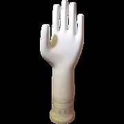 """Large 15"""" Vintage Porcelain Hand Glove Mold, General Porcelain Trenton NJ, size 9 B"""