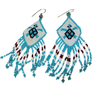 SALE Turquoise & White Hand Made Glass Bead Earrings