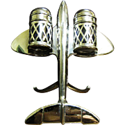 Mid Century Modern Jet Airplane Salt & Pepper Shaker Set, Cobalt Glass Liners