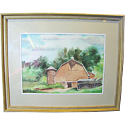 SALE Attractive Watercolor of Rural Barn & Outbuildings by Florence B. Muller