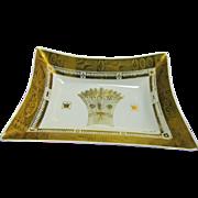 "Huge 15"" Georges Briard Mid Century Gilt Milk Tray, Gold Wheat Pattern"
