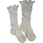 SALE Darling Pair of Fully Formed Silk Stockings with Hand Made Lace for Large Doll ...
