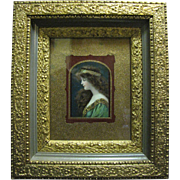 SOLD Victorian Aesthetic Lithograph of a Medieval Maiden, Decorative Mat, Deep Gilt Gesso Fram