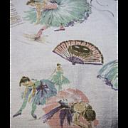 SOLD 6 1/2 Yards of Unused Retro Ballerina Design Barkcloth, Textile Heaven!