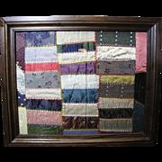 SALE Custom Framed Block of Hand Stitched Victorian Silk Quilt