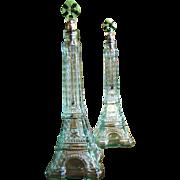 """SALE Matched Pair of Superb Vintage 13"""" Eiffel Tower Liqueur Bottle Decanters"""