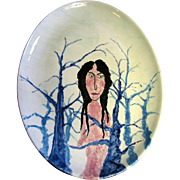 Wonderful Art Pottery Platter of Naked Lady In Forest, Signed RFK