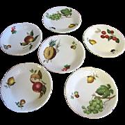 Set of 6 Philippe Deshoulieres Porcelain French Limoges Fruit Canape Plates