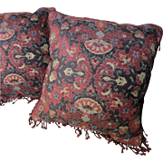 "SALE Opulent Pair of 17"" Lacquer Red Oriental Chenille Pillows with Glass Fringes"