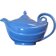 Stylish Hall Aladdin Cadet Blue Teapot with Gold Trim, 1950's