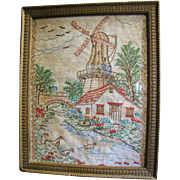 SALE Very Nice Old Hand Embroidered Windmill Picture, Charming!