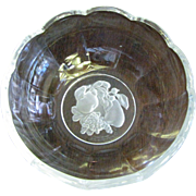 "Val St Lambert 5"" Intaglio ""Gardenia"" Crystal Bowl"