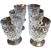"""Six Fostoria American Pattern 4 3/8"""" Footed Tumblers (2 sets available)"""