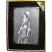 SALE Antique Engraved Print of Curtsying Girl in Eglomised Frame from Bendann's Art Studios ..