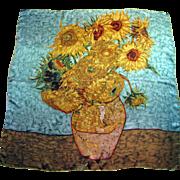 "Large 36"" Silk Satin Van Gogh Sunflower Design Austrian Pure Silk Scarf or Shawl"