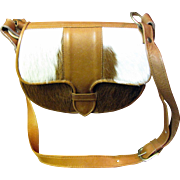 SALE Chic Brown & White Calf Hair Shoulder Bag with Leather Body