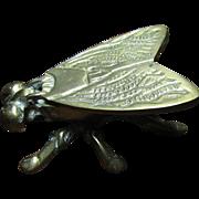 SOLD Vintage Brass Fly Vesta Matchstick Holder