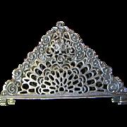 Large 800 German Silver Napkin Holder or Note Holder, Floral Basket