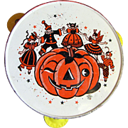 Vintage Tin Litho Tambourine Noisemaker for Halloween Display
