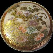 SALE Antique Japanese Meiji Satsuma Pottery Belt Buckle, Finest Hand Enamel Decoration
