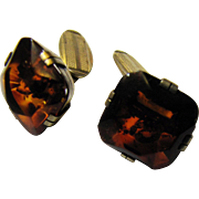 SALE Art Deco Russian Sterling Silver Baltic Amber Cufflinks
