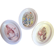 Three Beatrix Potter Bunny Design Trinket Dishes