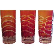 SALE 3 Ruby through Orange Graduated Shade Cut-to-Clear Hand Blown Crystal Glasses