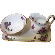 Royal Chelsea Purple Violets Creamer & Sugar with Tray, 3 Piece Set